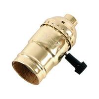 GE Brass 3-Way Lamp Socket, Gold