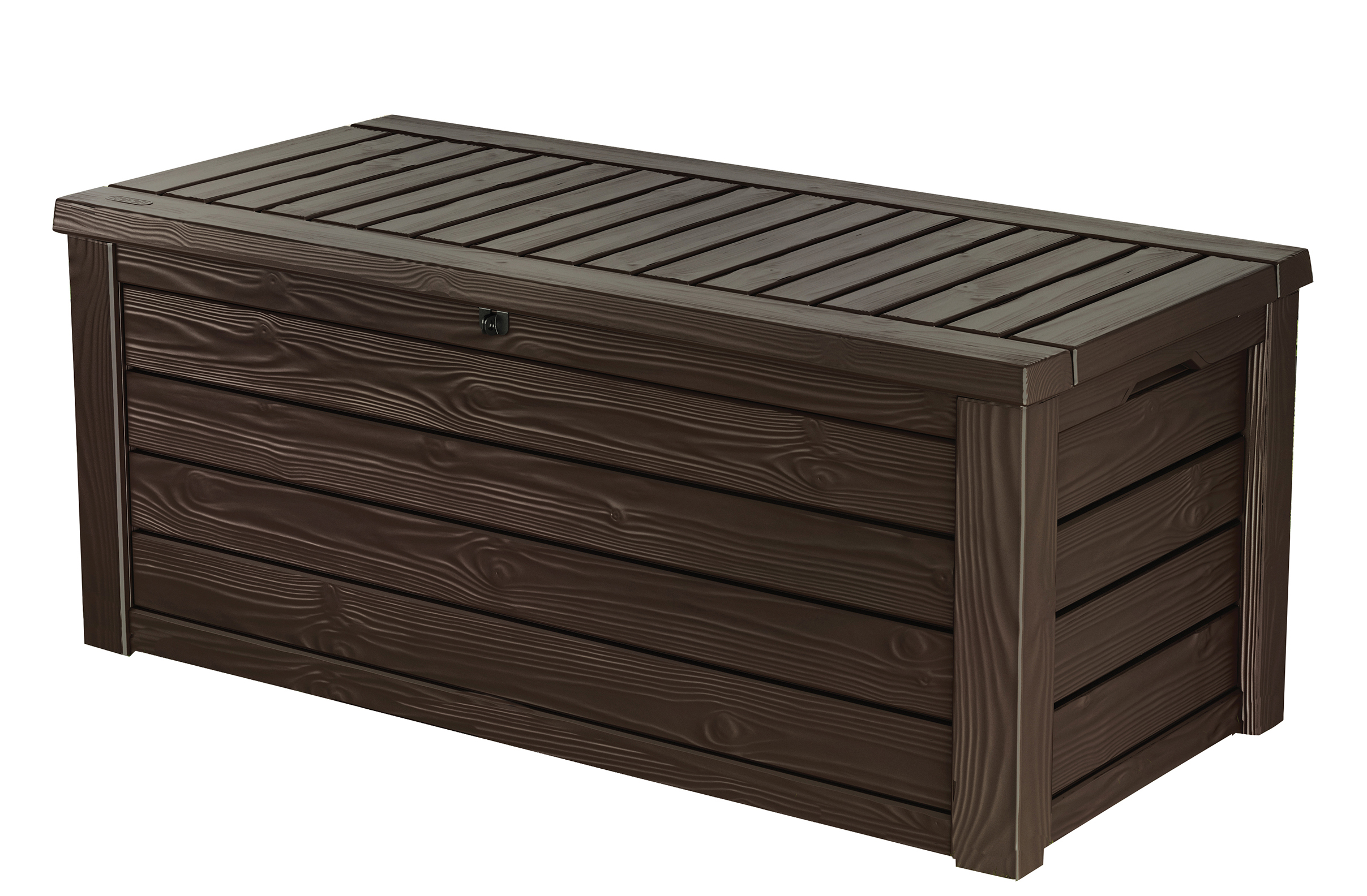 Keter Westwood 150 Gallon Outdoor Deck Box, Resin Patio Storage Bench Box