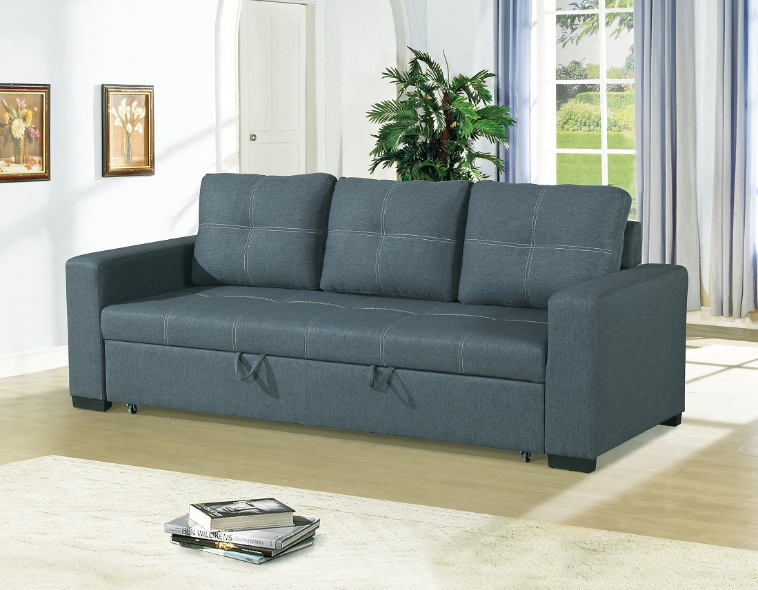 Convertible Sofa Bed Bobkona Living Room Sofa w Pull out Bed Accent  Stitching Comfort Couch Blue Grey Polyfiber