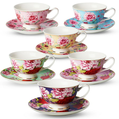 Tea Cup and Saucer Set of 6 (12 pieces), Floral Tea Cups, 8 Oz.Bone China Porcelain
