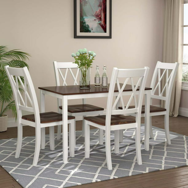 Modern 5 Piece Dining Sets, URHOMEPRO Wooden Dining Table Set for