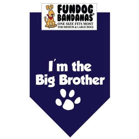 Fun Dog Bandana - I'm the Big Brother - One Size Fits Most for Med to Lg Dogs, navy blue pet scarf