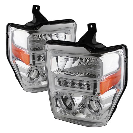 08 Super Duty Led (TD LED Halo Projector Headlights (Chrome) - 08- 10 Ford F-250 F250 Super)