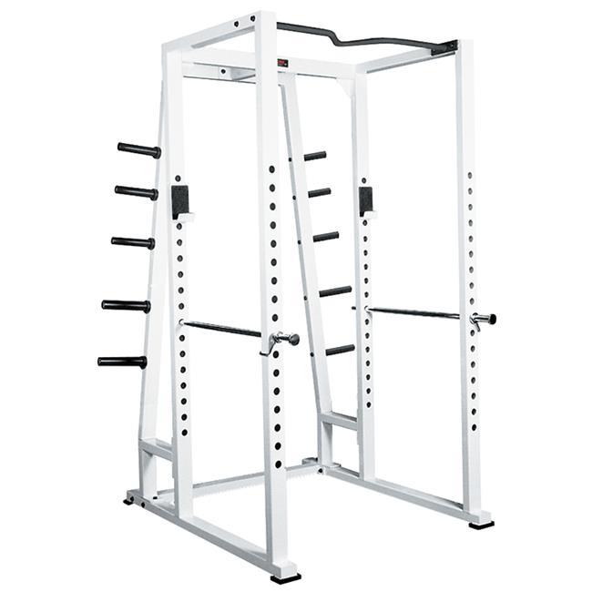 York Barbell 54030 Power Rack with Weight Storage, White