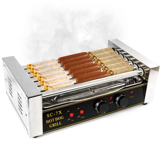 KapscoMoto HOM-019 Hot Dog Grill Roller Commercial 18 Maker Warmer Cooker Machine - Stainless Steel