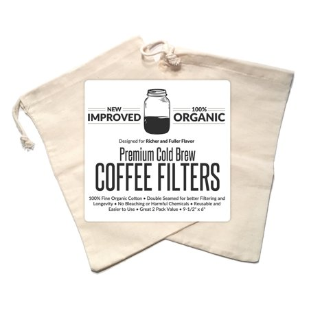 Cold Brew Coffee Maker Filter Premium Organic Cotton Nut Milk Bag Reusable 9 5 X 6