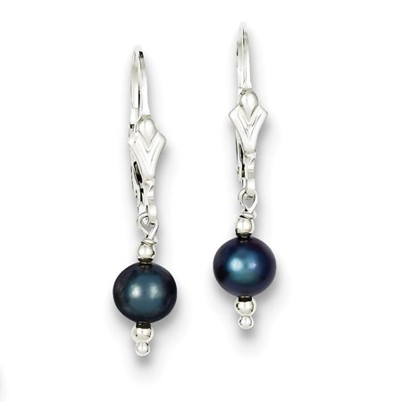 Sterling Silver Freshwater Cultured Peacock Pearl with Bead Leverback -