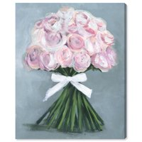 Runway Avenue Floral and Botanical Wall Art Canvas Prints 'Wonderful Bouquet' Florals - Pink, Green