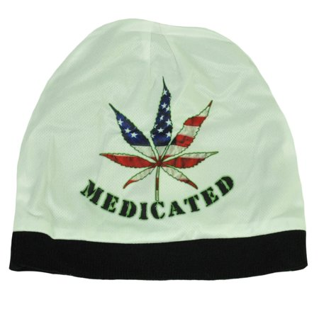 Medicated Marijuana Usa Flag Weed Sublimated Knit Beanie Cuffless Toque Hat