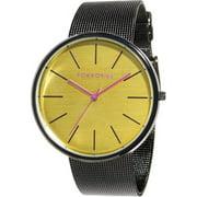 Mens Jet Analog Stainless Watch - Black Mesh Bracelet - Yellow Dial - T2030-MU