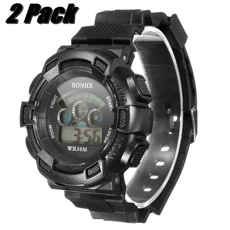 2 Pack Unisex LED Digital Waterproof Date Alarm Stopwatch Rubber Sports Army Wrist Dial Watch Gifts For Man Boy male Hours, Date, Weekly