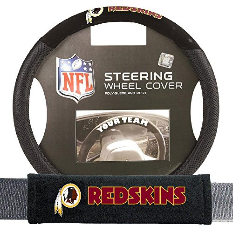Fremont Die FMT-93107 Washington Redskins NFL Steering Wheel Cover and Seatbelt Pad Auto Deluxe Kit - 2 Pc Set