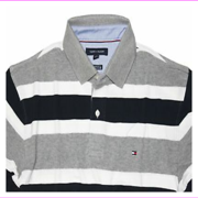 Tommy Hilfiger Men's Even vented hem Ribbed  collar cuffs Classic Fit Polo Shirt XXL/Total Eclipse Stripe