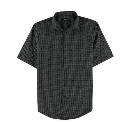 Alfani Mens Plaid Button Up Shirt black S - image 1 de 1