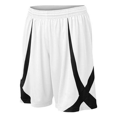 TopTie Men's Basketball Shorts, Flag football Shorts No Pockets, MMA Pro Shorts-White-XL ()