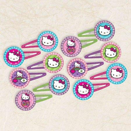 Hello Kitty Rainbow Glitter Hair Clip Favors (12 Pack) - Party Supplies