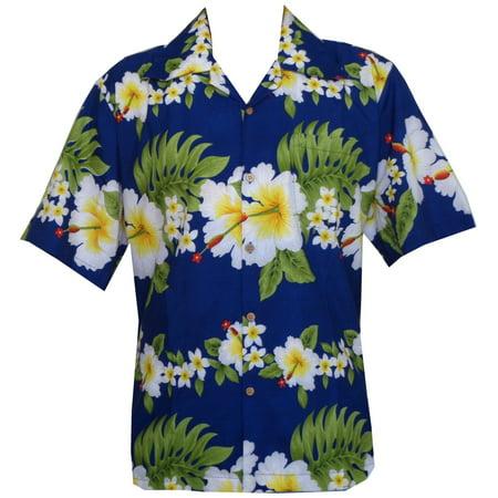 Hawaiian Shirt 10A Mens Cross Hibiscus Flower Print Beach Party Aloha Blue M