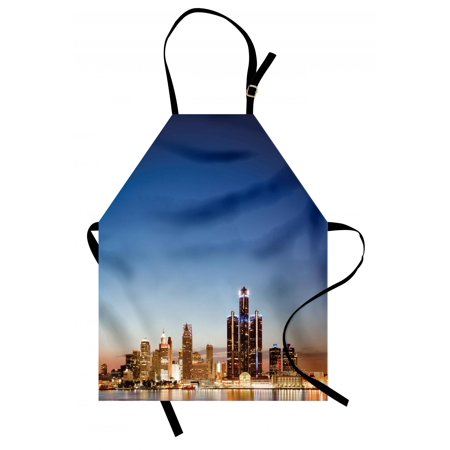Detroit Apron Michigan Skyline at Twilight Waterfront Lively City Serene Calm Travel Destination, Unisex Kitchen Bib Apron with Adjustable Neck for Cooking Baking Gardening, Multicolor, by Ambesonne ()