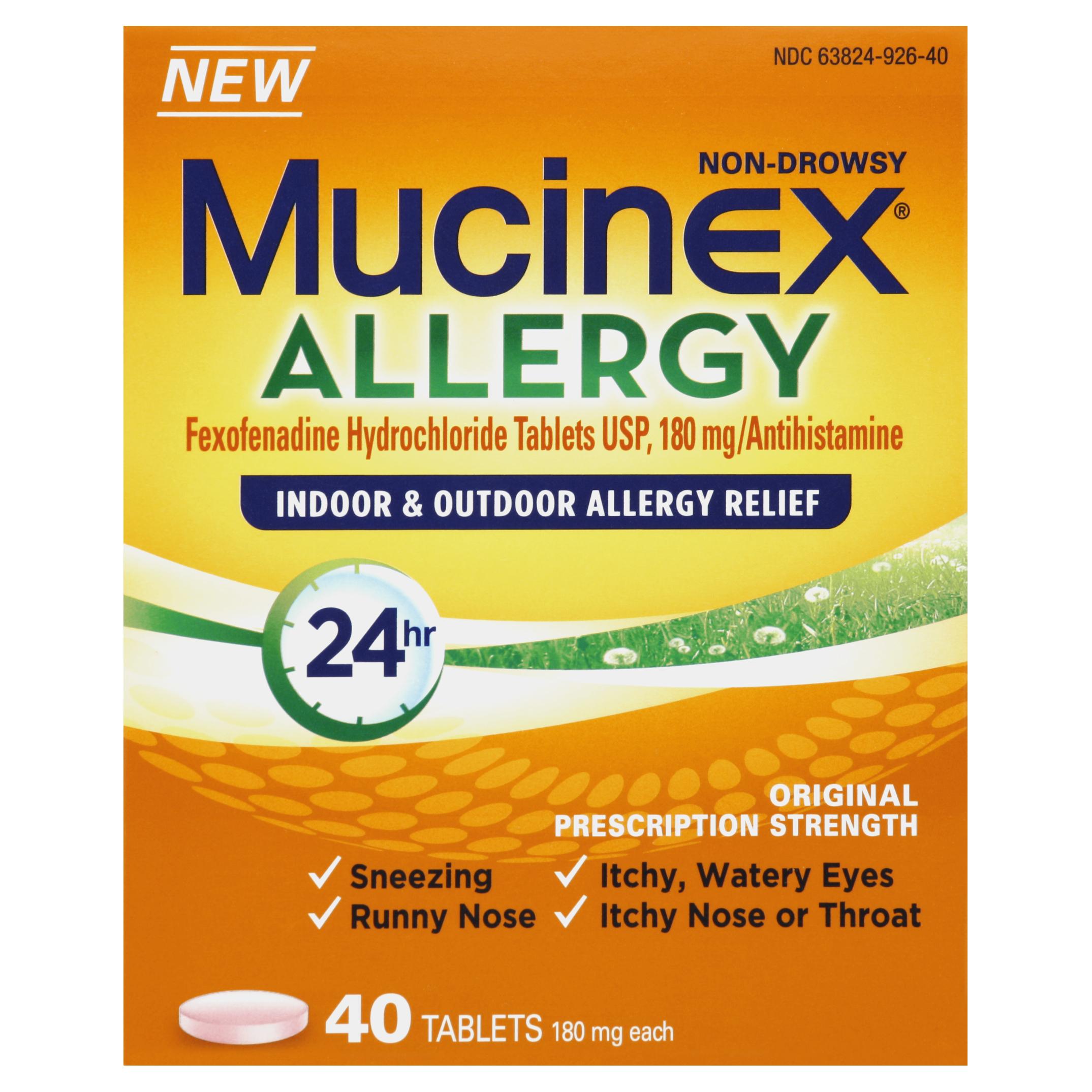 Mucinex Adult 24 Hour Indoor & Outdoor Allergy Tablets, 40 Count