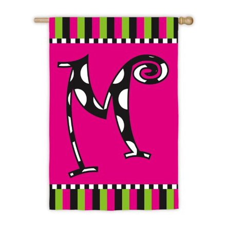 Twirly Curly Monogram Flag - M (Garden), Applique Flag By Initial Boutique from USA