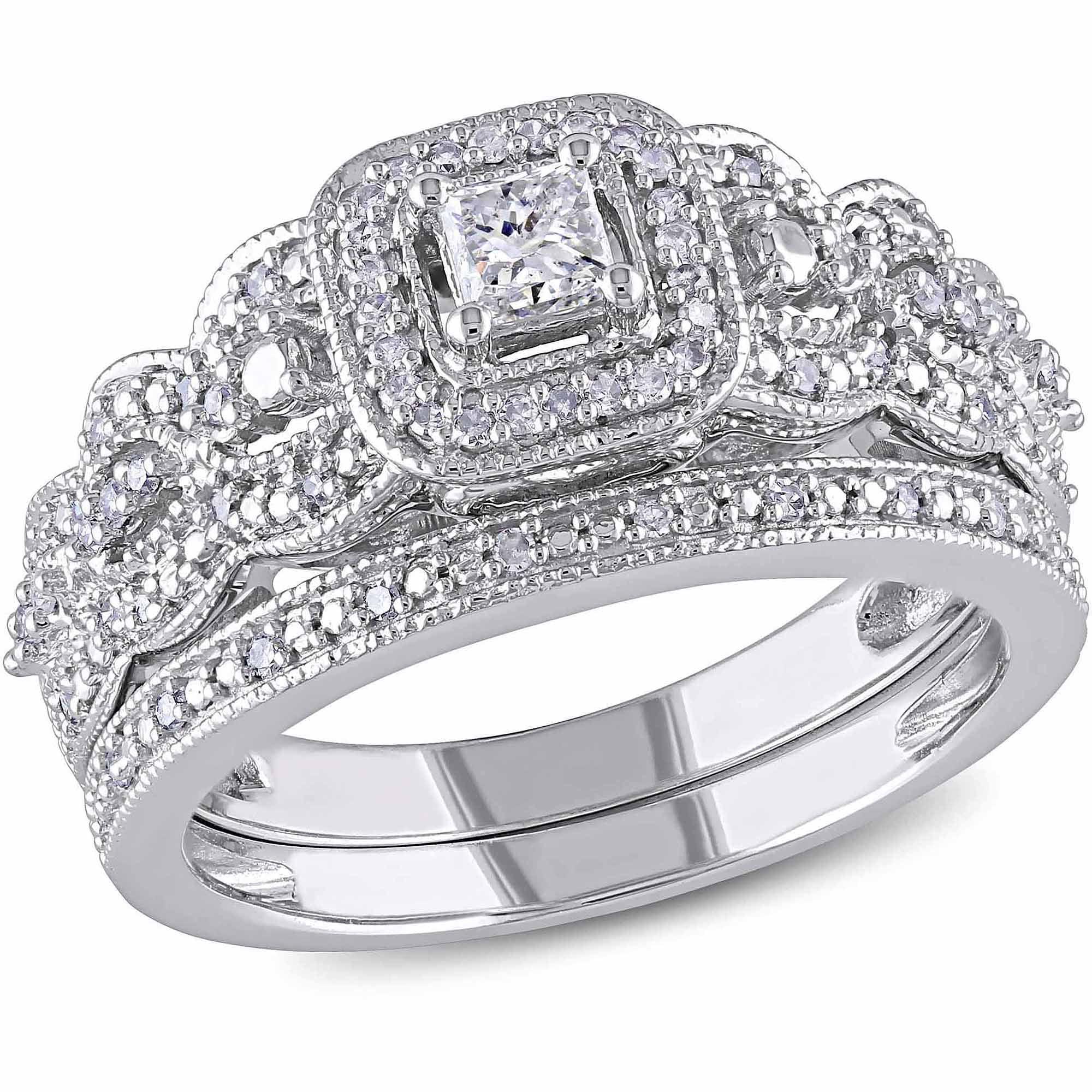 Miabella 1/2 Carat T.W. Princess and Round-Cut Diamond 14kt White Gold Bridal Set