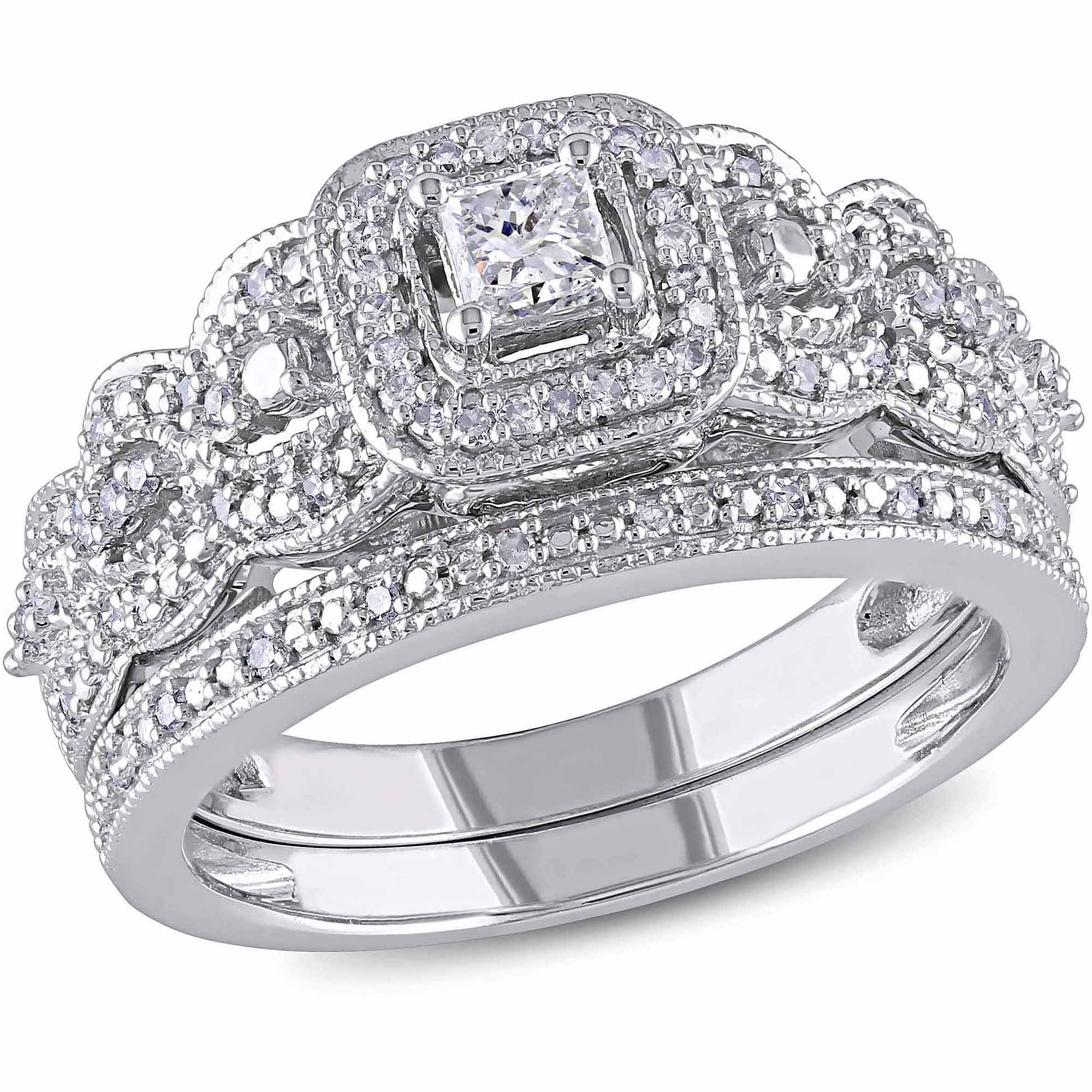 Miabella 1/2 Carat T.W. Princess and Round-Cut Diamond 14kt White Gold Bridal Set