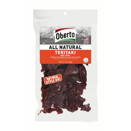 Oberto All Natural Teriyaki Beef Jerky, High Protein Snacks, Gluten Free, 9 Ounces