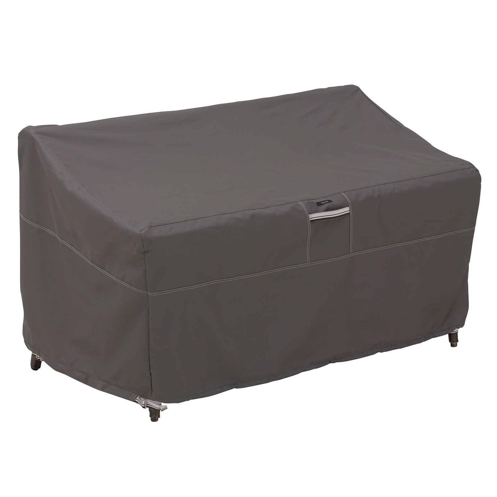 """Classic Accessories Ravenna Small Sofa/Loveseat Patio Furniture Storage Cover, Fits up to 58"""", Taupe"""