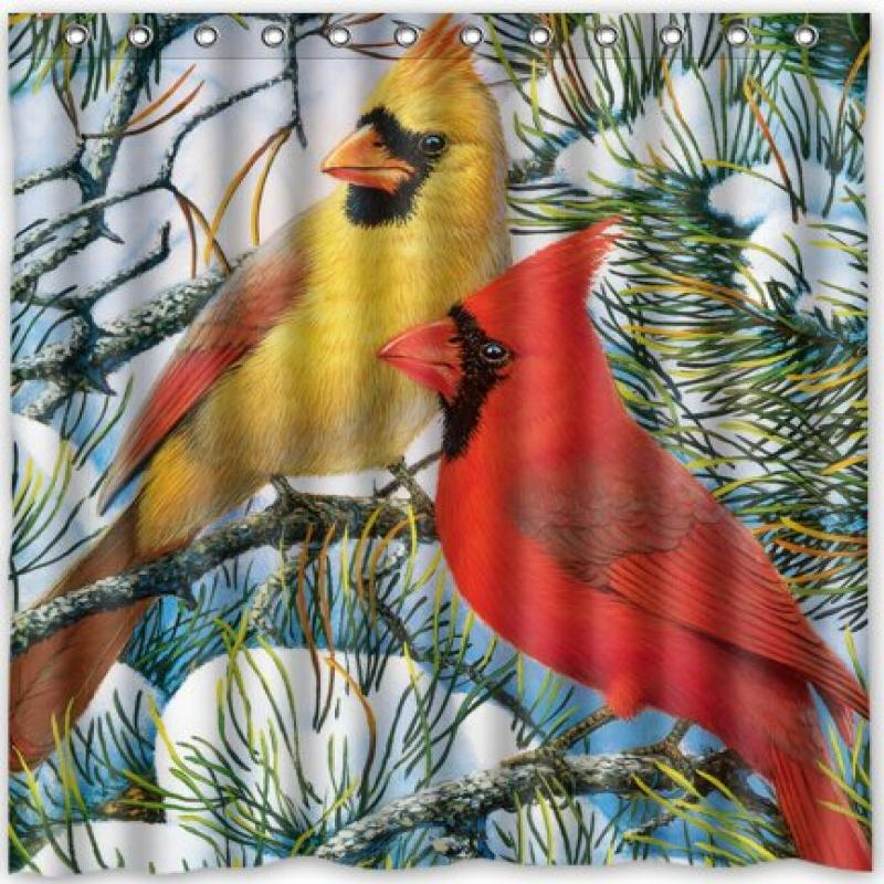 """Funny design cardinals birds Shower Curtain 66""""(w) x 72""""(h) Generic Shower Curtain Liners"""