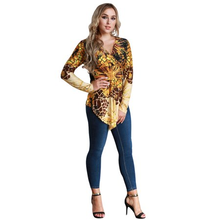Women Plus Size Blouse Top Contrast Print V-Neck Asymmetric Hem Long Sleeve Top Yellow - image 3 de 7