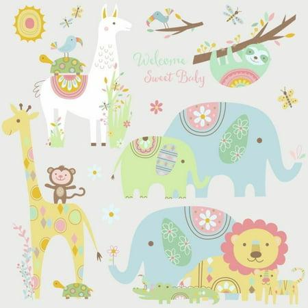 TRIBAL BABY ANIMALS Wall Decals Big Elephant Giraffe Stickers Baby Nursery Decor (Giraffe Nursery Decor)