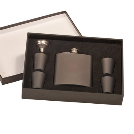 Monogram Matte Black Flask Set in Gift Box (Monogram Postage)