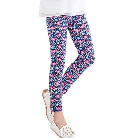 Baby Kids Girls Flower Printed Long Pants Stretch Leggings Trousers 2-14Y - Girls Flower Leggings