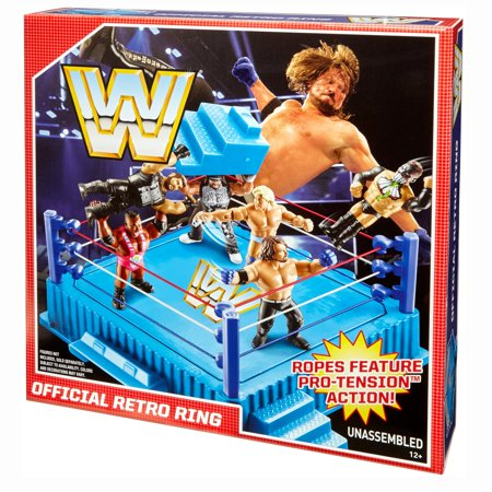 Mattel WWE Official Retro Throwback Wrestling Ring Play Set with Removable Steps - Wwe Banner