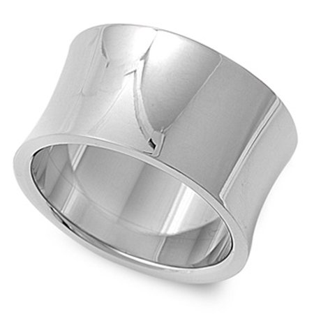 Women's Wide Ring Tranditional Polished Stainless Steel Band 14mm Size 10 Polished Wide Band Ring