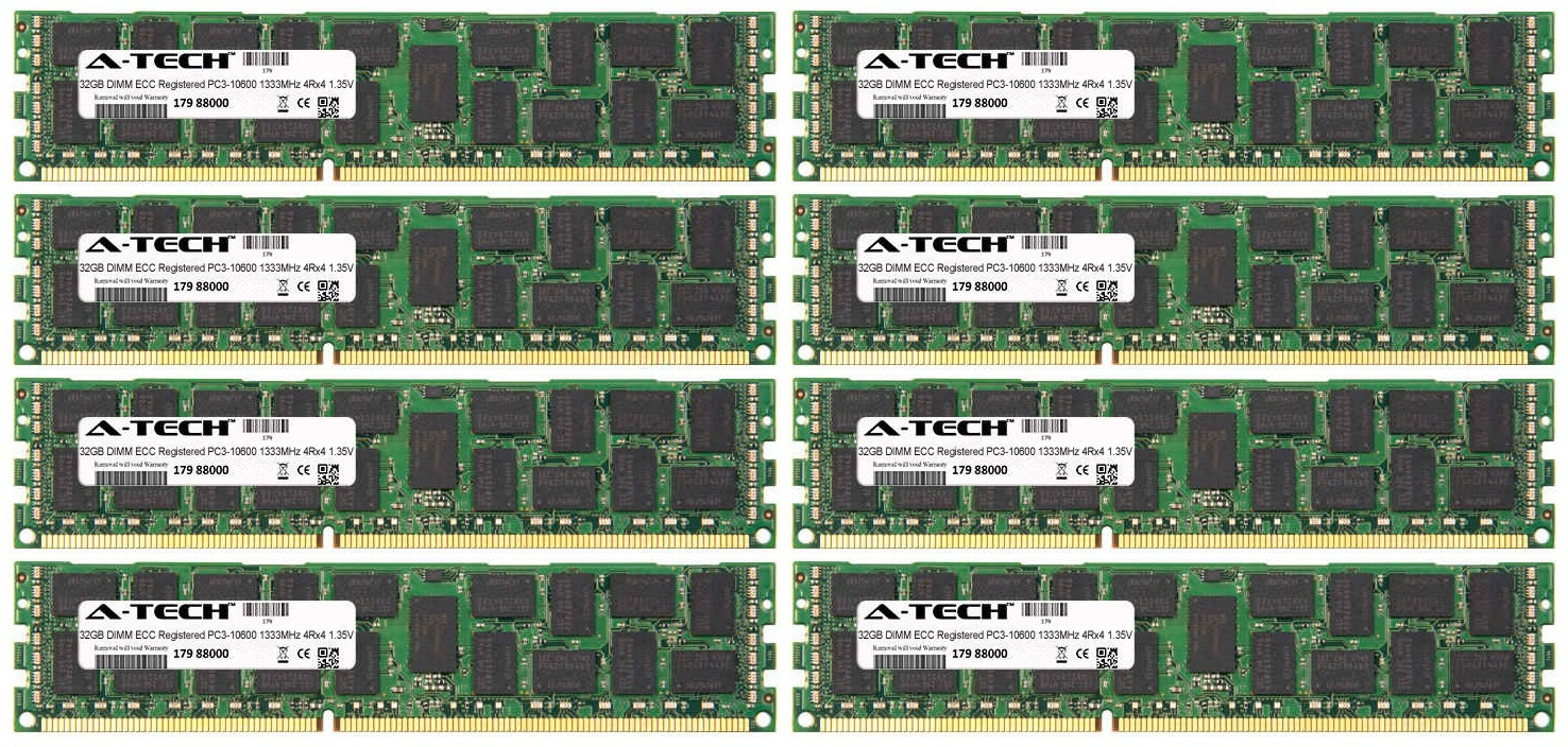 256GB Kit 8x 32GB Modules PC3-10600 1333MHz 1.35V 4Rx4 ECC Registered DDR3 DIMM Server 240-pin Memory Ram