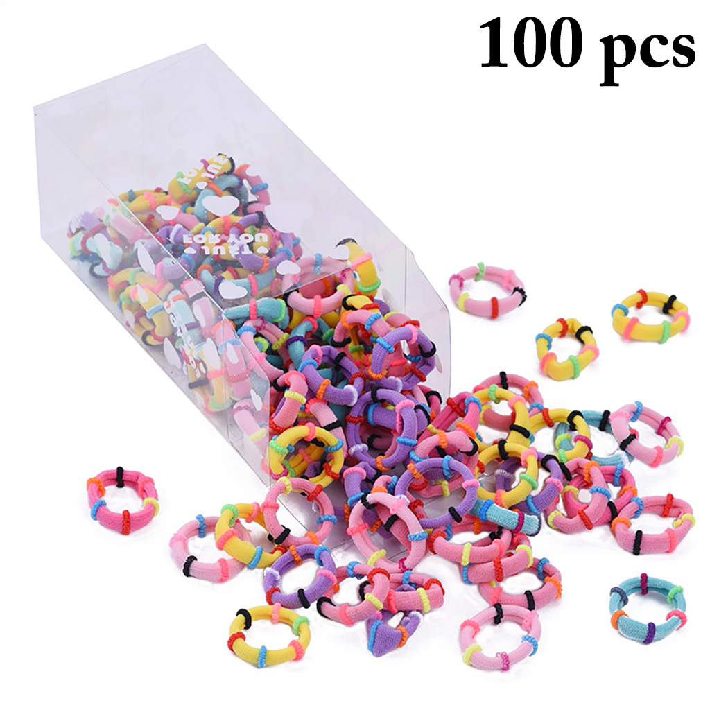 100PCS Hair Ties, Justdolife Seamless Colored Hair Bands Ponytail Holders Hair Scrunchies Rope Hair Styling Accessories for Kids Girls
