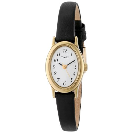 Womens Brass Case Black Leather Strap White Dial Gold Watch - T21912