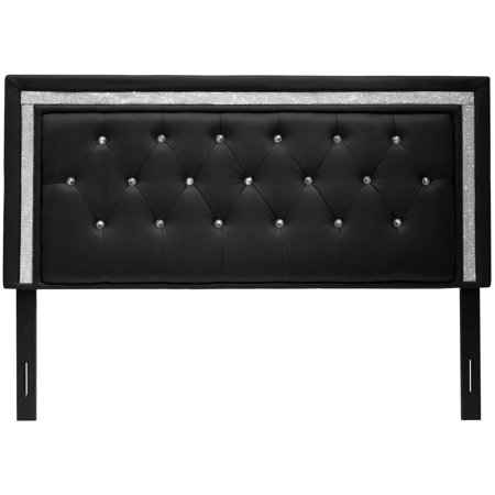 Best Master Furniture Tufted Vinyl Upholstered Headboard, Black or