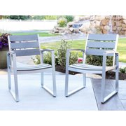 Walker Edisona All Weather Grey Patio Dining Chairs Set of 2