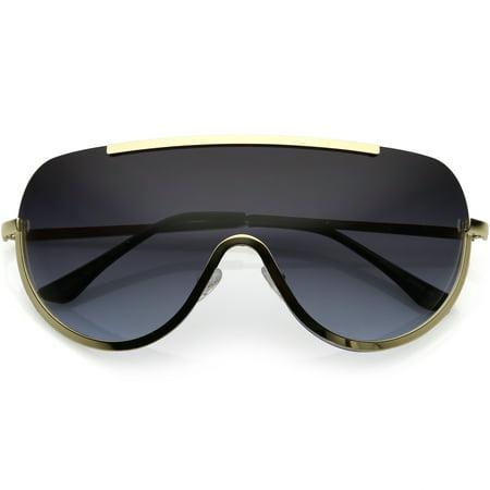 00d8c030ad sunglassLA - Oversize Semi Rimless Shield Sunglasses With Metal Trim  Gradient Colored Mono Lens 65mm - 65mm - Walmart.com
