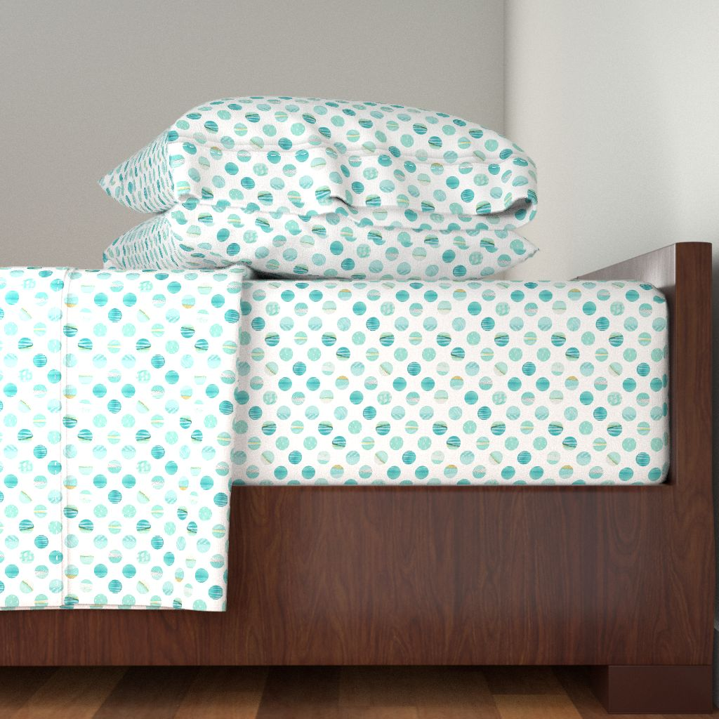 Watercolor Polka Turquoise Gold Stripe 100% Cotton Sateen Sheet Set by Roostery