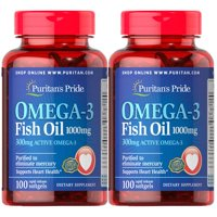 Puritan's Pride Omega-3 Fish Oil 1000mg (300mg Active Omega-3) Softgel (2 PACK)