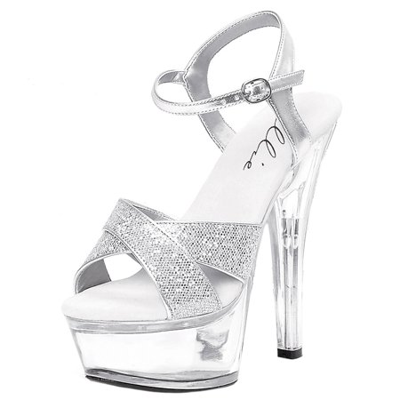 6 Inch Women's Evening Shoes Sexy High Heel Sandals Mid Platform With Glitter