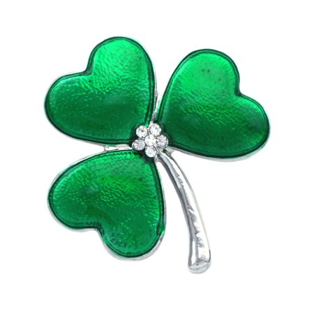 4 Leaf Clover Pin (cocojewelry Heart Shaped Leaf Clover Shamrock Brooch Pin Jewelry)