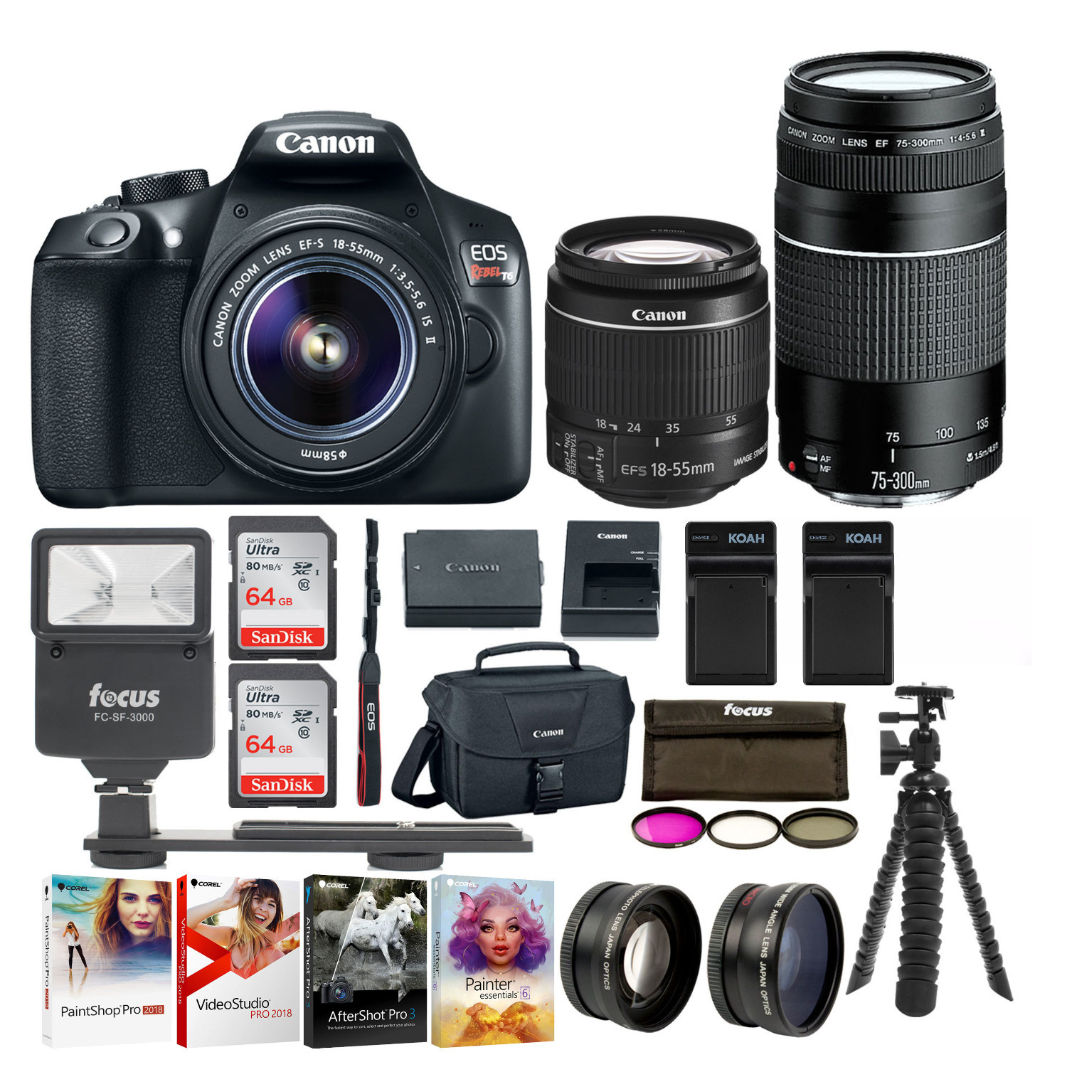 Canon EOS Rebel T6 DSLR Camera with EF-S 18-55mm and EF 75-300mm Lens Bundle