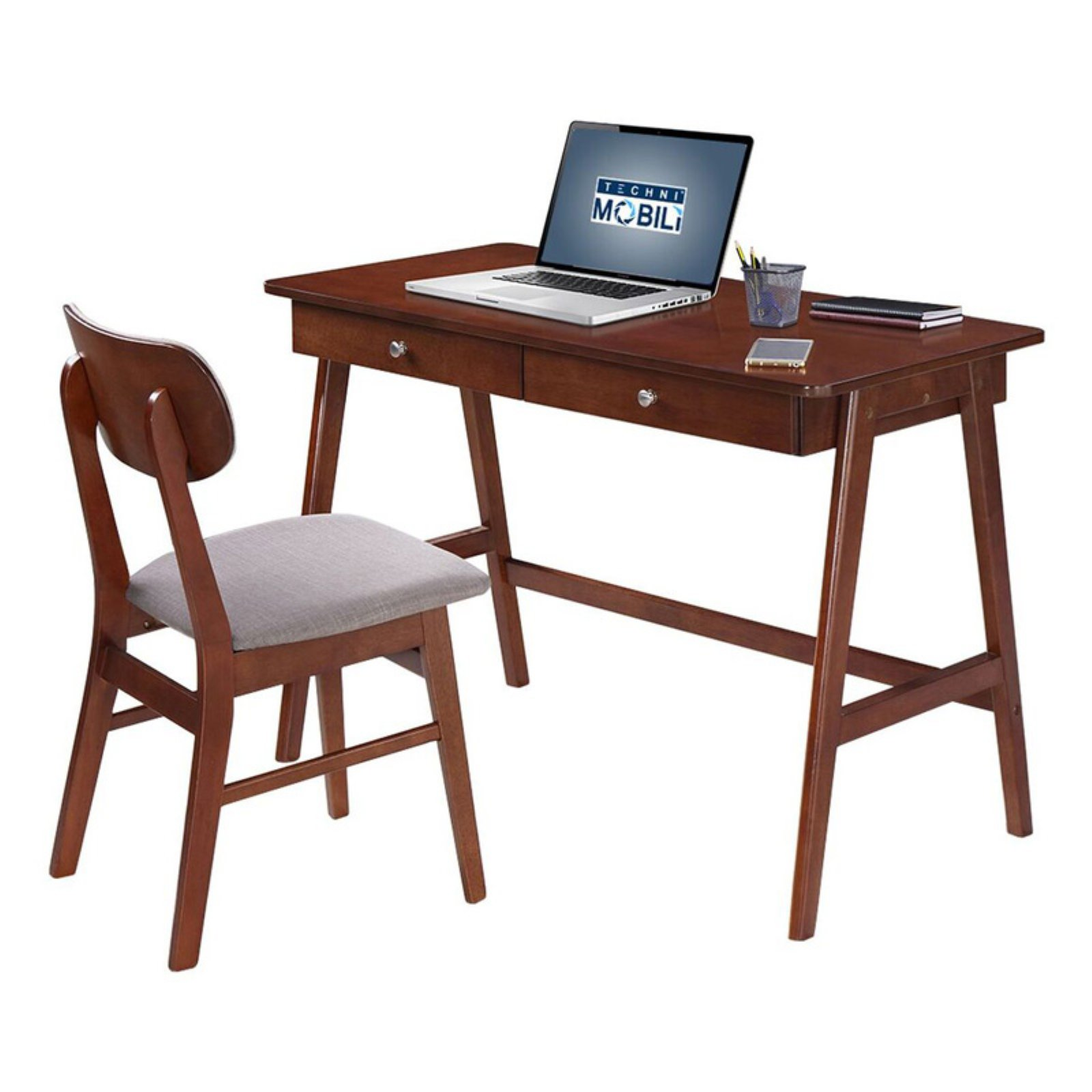 Techni Mobili Modern Desk With Storage And Chair Set. Colors: Mahogany,Gray