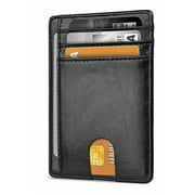 Microseven Slim Minimalist Front Pocket RFID Blocking Leather Wallets for Men Women Black