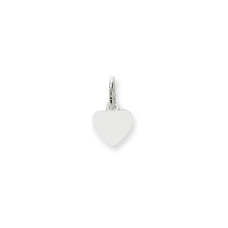 - Solid 14k White Gold Plain .018 Gauge Engravable Heart Pendant Charm (9mm x 14mm)