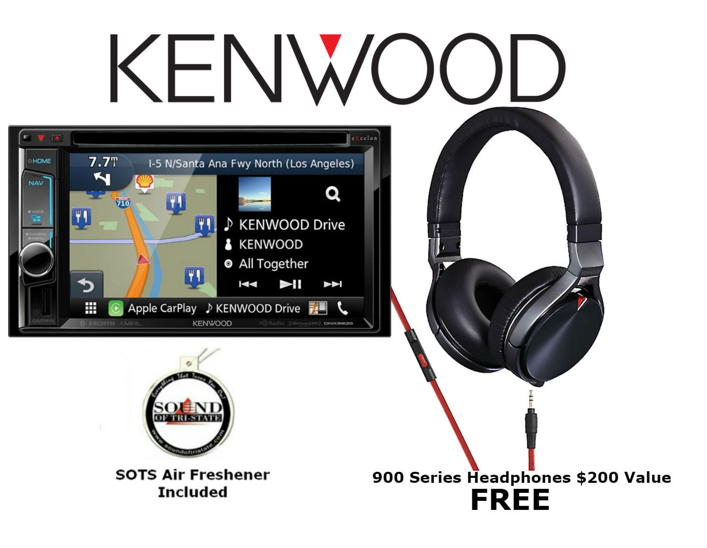 """Kenwood Excelon DNX693S w  KH-KR900 (Factory Refurbished) 6.2"""" WVGA double-DIN Navigation DVD Receiver with FREE... by Kenwood eXcelon"""